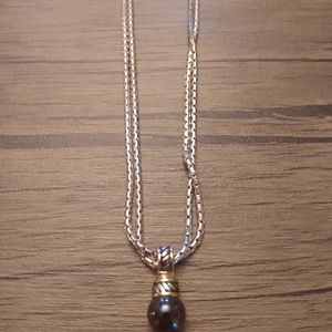 Cultured taheasean pearl silver rope necklace